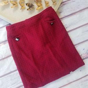 Banana Republic Burgundy Tweed Mini Skirt 12